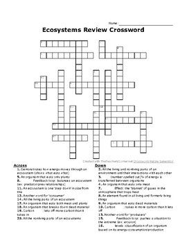 Ecosystems Review Crossword Environmental Science Carbon Cycle Crossword