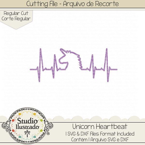 Unicorn Heartbeat, Unicorn, Heartbeat, Batida coração, unicórnio, unicorn love, love, amor, coração, arco-íris, rainbow, fantasia, fantasy, rquivo de recorte, corte regular, regular cut, svg, dxf, png, Studio Ilustrado, Silhouette, cutting file, cutting, cricut, scan n cut.