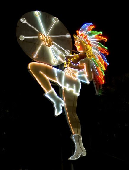 Neon Drum Majorette - after restoration. From the old Campus Drive-In Theatre, San Diego.