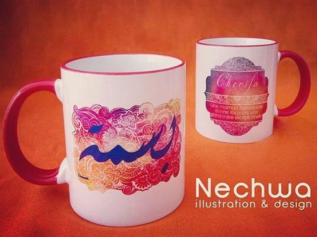Tasses personnalisées et calligraphies imprimées sur tasse à commander en m'écrivant. #calligraphy #mandala #coffycup #cup #orange #gift