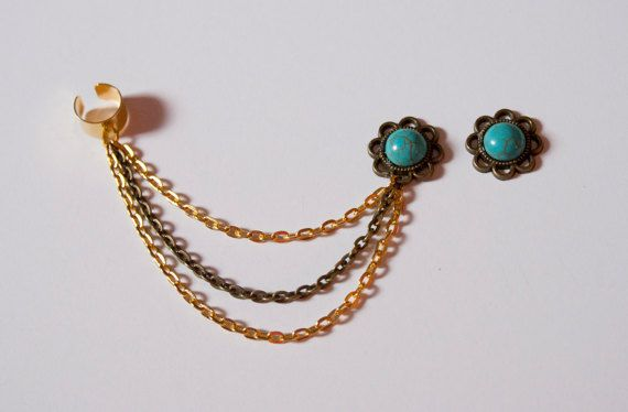 Turquoise Gemstone Bronze Ear Cuff and Earring by AmarokDesigns