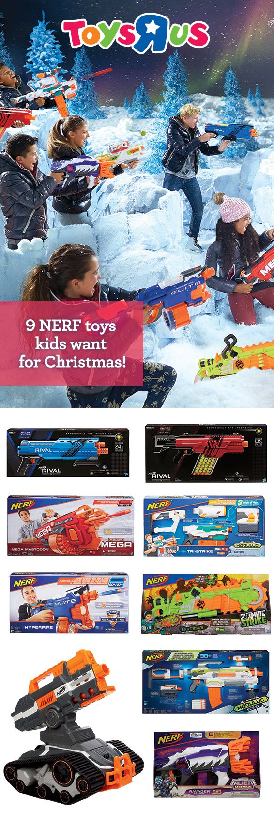"What a blast! With so many blasters and accessories to choose from, like the N-Strike Mega Mastodon and Rival Khaos MXVI 4000 in our NERF Shop, it's no wonder we're the destination for NERF Nation! And remember, if you're looking for the super hot N-Strike Elite Terrascout RC Drone or super cool Alien Menace collection, they're only at Toys ""R""Us!"