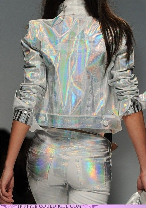 HOLOGRAPHIC, future fashion, future trend, girl, model, ass, back, futuristic dress, futuristic look, futuristic fashion, amazing style by FuturisticNews.com