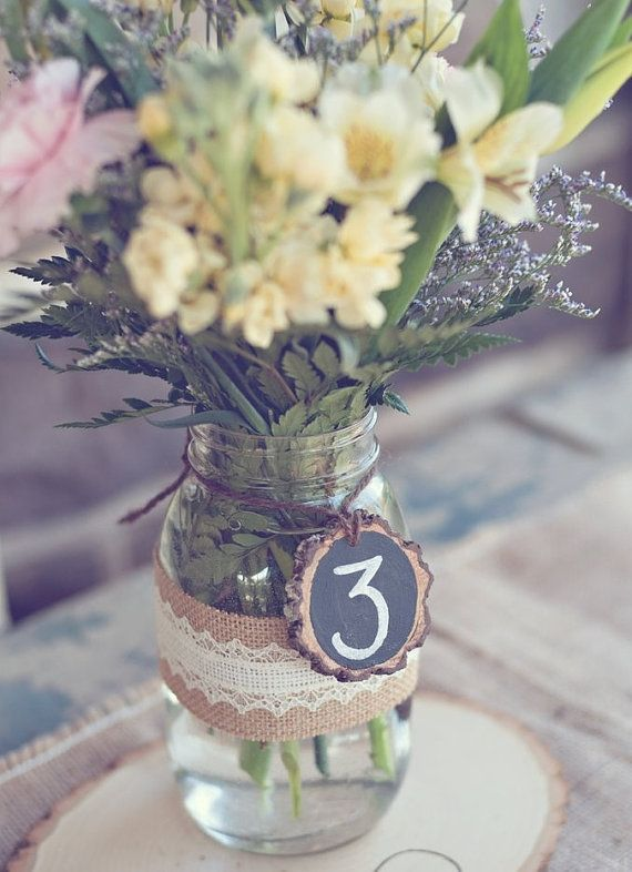 Table number idea, and vase idea with lace and burlap...