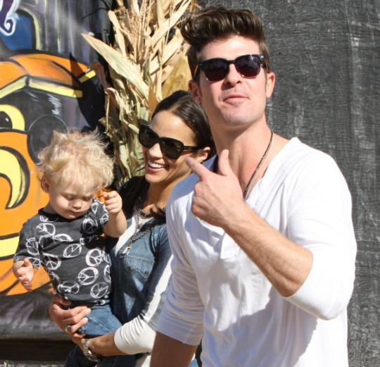 Paula Patton, Robin Thicke, and baby