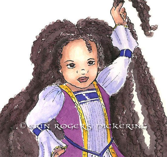 African American Rapunzel with Twists modern fairy by eringopaint, $21.00
