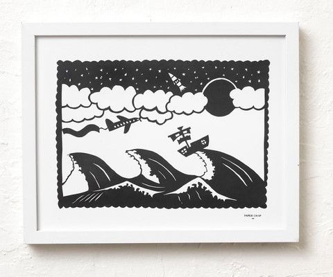 Ocean original paper cut - I love this paper cut, can be personalised with your little one's name in the banner on the aeroplane.