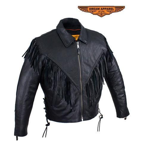 Womens Leather Motorcycle Jacket With Braid & Fringe