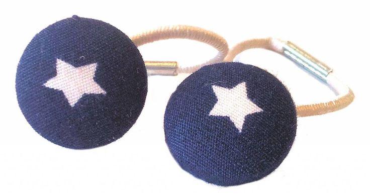Haarelastiekjes Navy met witte ster Hair elastics navy blue white star