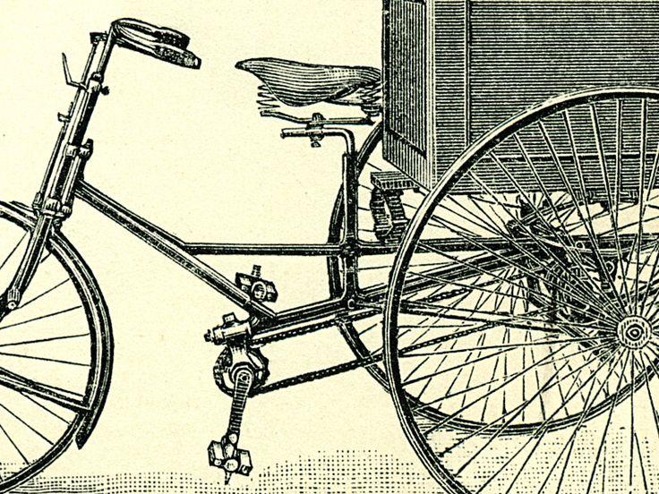Detail obrazu vývoje bicyklů až po motorové kolo.