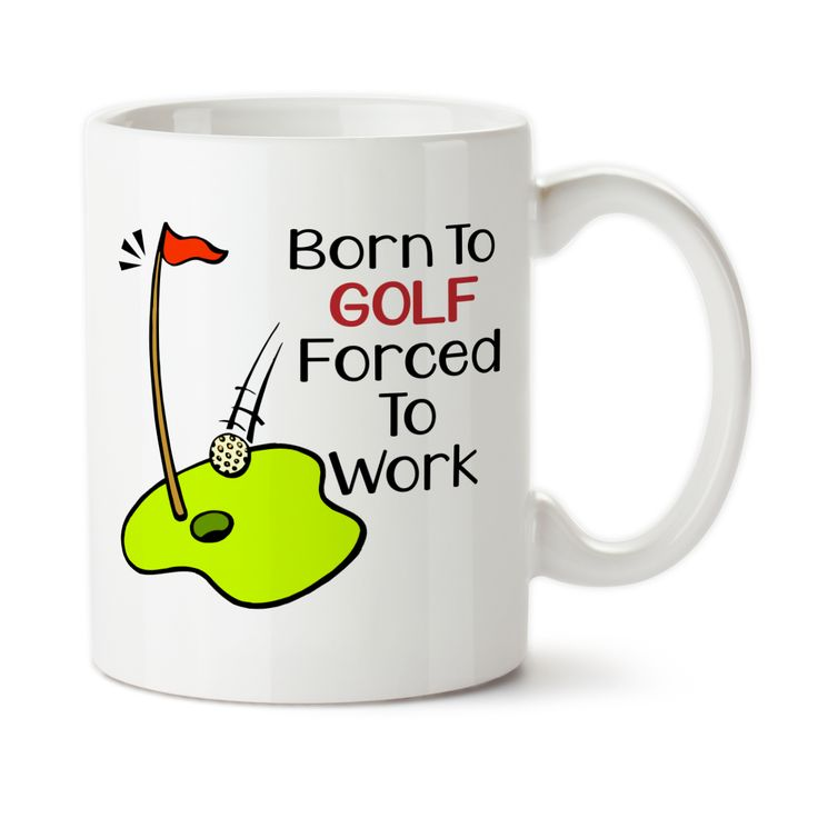 Coffee Mug, Born To Golf Forced To Work, Golfer, Golfing, Funny Golf Gift, Love To Golf,