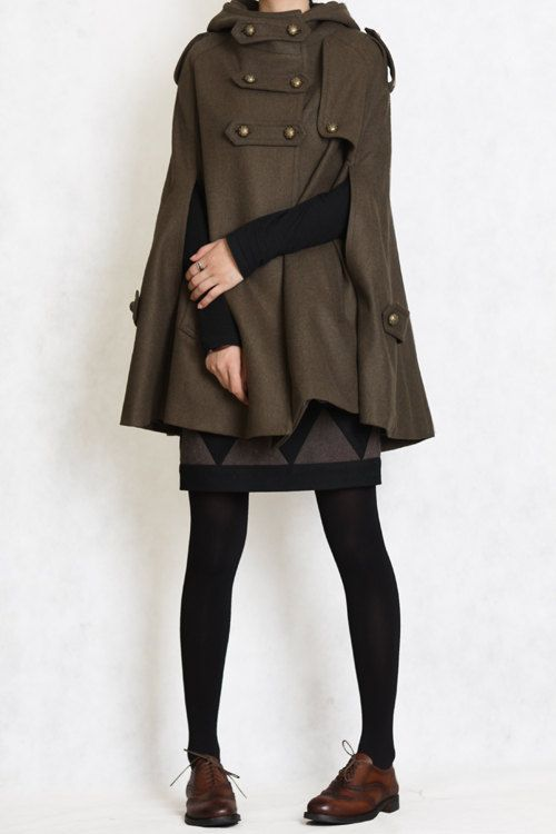 Wool Cape Coat Jacket for Women Hooded Winter Coat - Army Green-Dress - Cusom Made. $108.99, via Etsy.