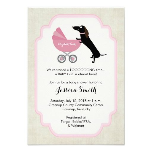 Dachshund Baby Shower Girl Invitation in Pink & Burlap - You can even add the baby's name on the carriage! Customize with your info to see if you LOVE it!