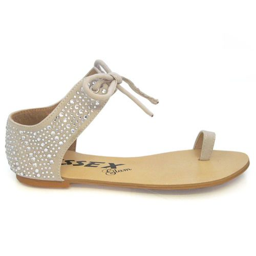NEW WOMENS FLAT SANDALS LADIES DIAMANTE TIE UP SUMMER FLATS CASUAL SHOES SIZE | eBay