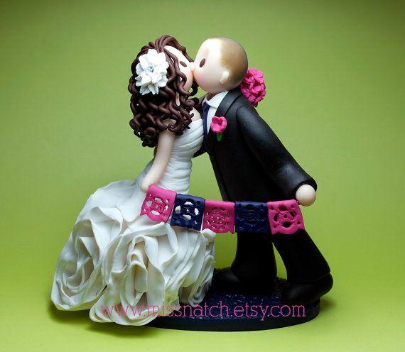 DEPOSIT - Royal Blue Fuchsia Papel Picado Romantic Wedding Cake Topper