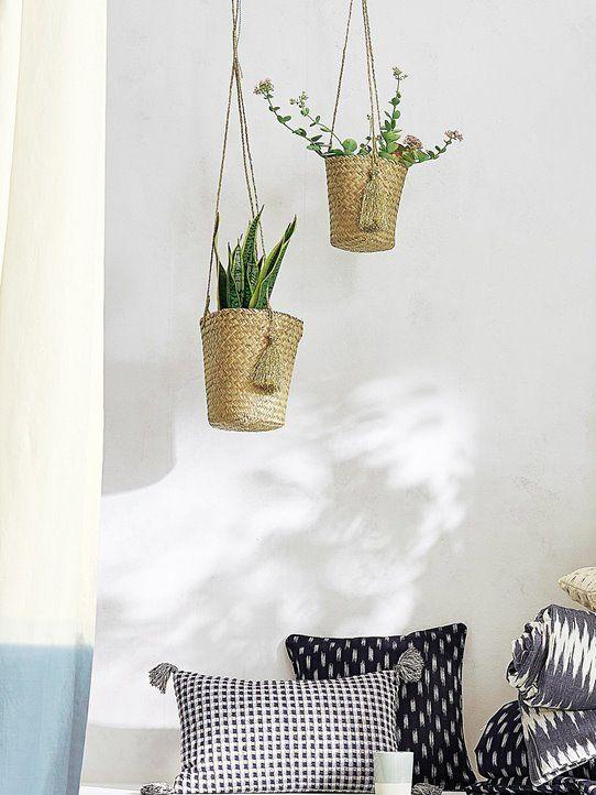 Panier A Suspendre Pot De Fleur Plante Cache Pot En Osier Style