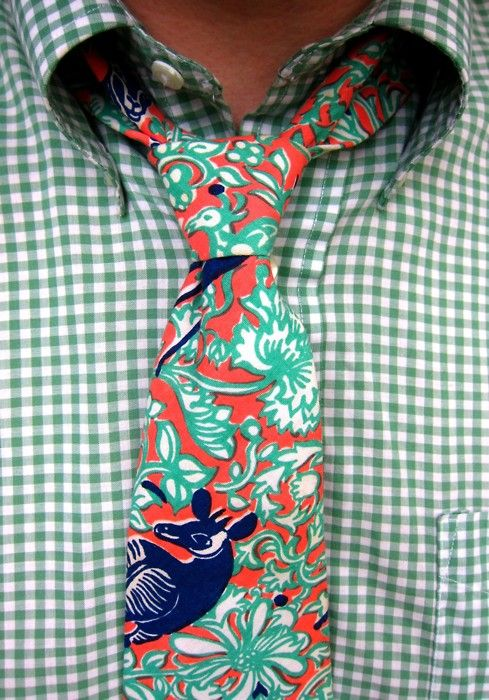 Mint-green gingham BD sport shirt; Vintage cotton 'wildlife' print tie by Lilly Pulitzer Mens Stuff