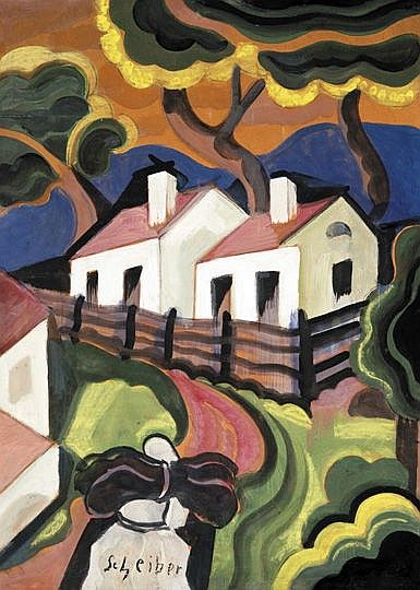 Scheiber Hugó (1873-1950) Houses Gouache on paper 69,5x49,5 cm