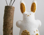 Waldorf игрушки, шерстяного войлока Bunny Rabbit, ручного шитья чучела животных, белый и золотисто-желтый