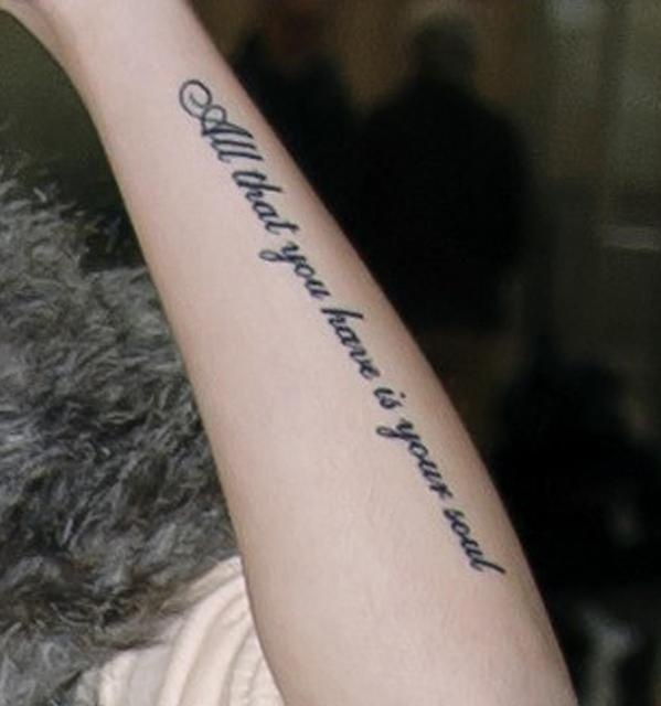 all that you have is your soul. this is one of my favorite cher loyd tattoos:)