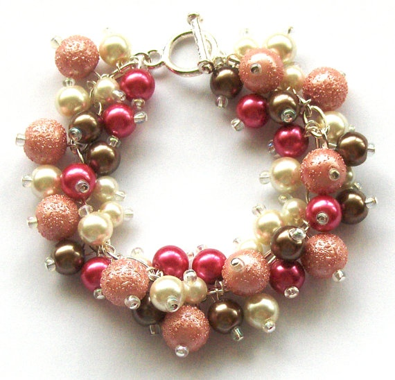 Expensive Charm Bracelets: Pearl Beaded Bracelet Brown Ivory And Pink Bridal By