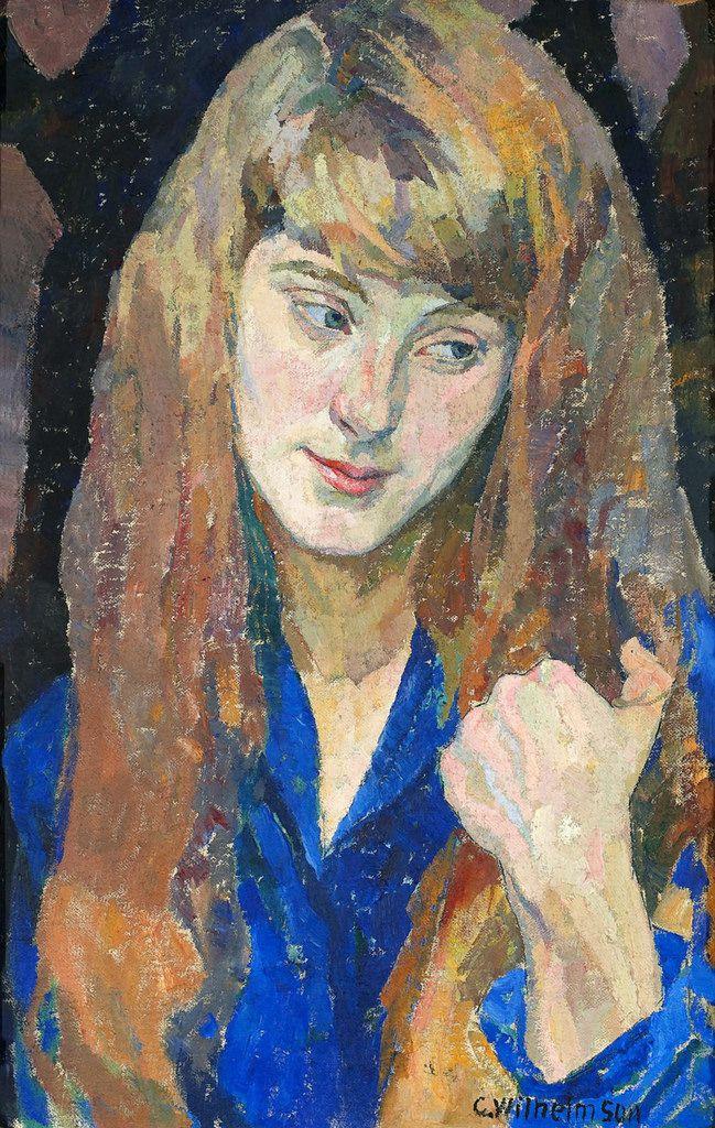 """oldpainting: """" Carl Wilhelmson (1866 - 1928) was a Swedish artist. Flicka med utsläppt hår. """""""