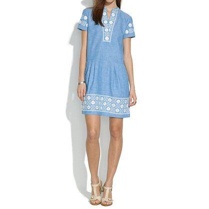 Chambray Sunstitch Tunic Dress - shift dresses - Women's DRESSES - Madewell