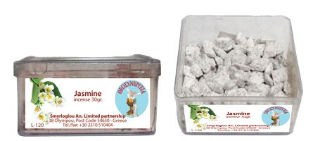 Greek Orthodox Handmade Incense - Jasmine. Plastic box of 30gr.