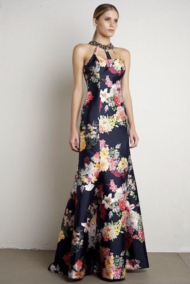 0899ca6b7 Vestido de festa estampado com gola bordada - loja online