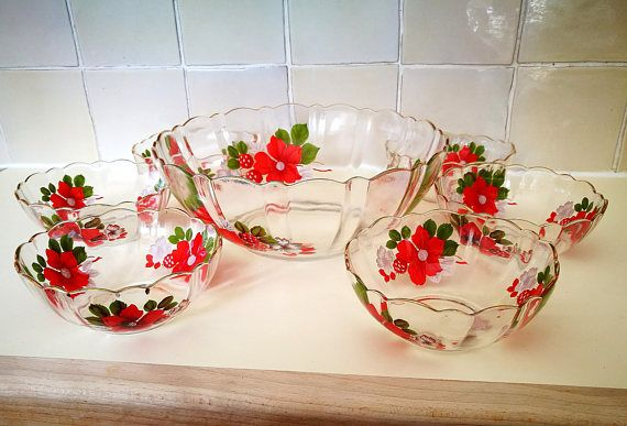 Vintage dessert bowls set, Glass Fruit salad dish set, Beautiful red flowers French glass serving bowls, Red kitchenware, Red dinnerware
