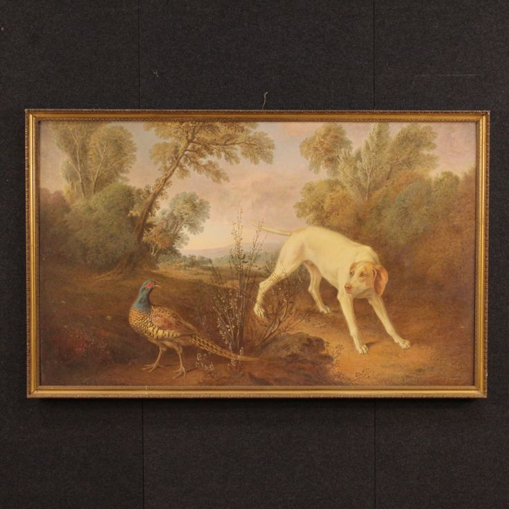 "1800€ Great Italian painting ""Hunting dog with pheasant"".  Visit our website www.parino.it #antiques #antiquariato #painting #art #antiquities #antiquario #canvas #oiloncanvas #landscape #quadro #dipinto #arte #tela #decorative #interiordesign #homedecoration #antiqueshop #antiquestore #game #hunt #hunting #dog"