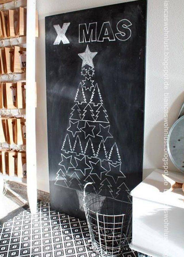 Une déco de sapin de Noël dessiné à la craie - Marie Claire Maison