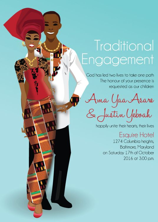 Now you can print unlimited quantities of invitations for your Ghanaian traditional wedding shop now: http://www.bibiinvitations.com/African-Traditional-Invitations-s/46.htm