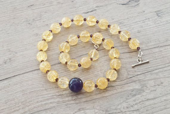 Golden Necklace Purple Amethyst and Sparkly by SunSanJewelry