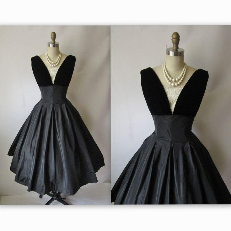 50 S Cocktail Dress Vintage 1950 S Black Taffeta Full