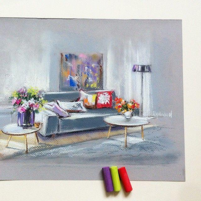 Любовь к интерьерам и пастели приводит к вдохновению😌💜#скетч #интерьер #цвет #стильвкаждойдетали #цветноевоскресенье #медитация #творчество #пастель #pastel #interiordegrass #designe #interiordesigner #paint #color #light #home #настроение
