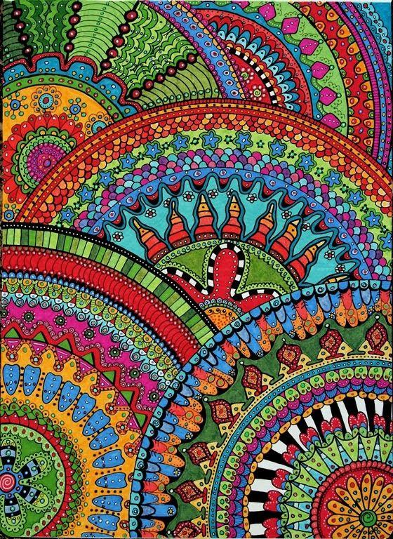 Full Color Love Zentangle Zendalas Circle Halves