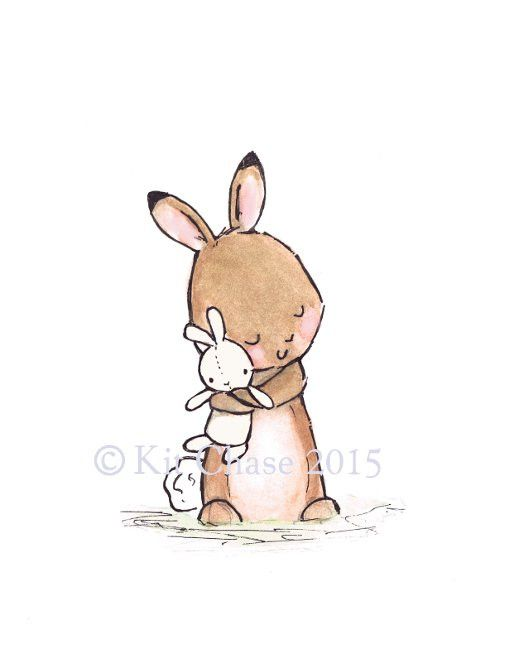 This sweet little bunny and her bunny rabbit doll make quite the cuddlesome duo for a little girl's nursery. - art print from an original watercolor, gouache, and acrylic painting by Kit Chase. - arch