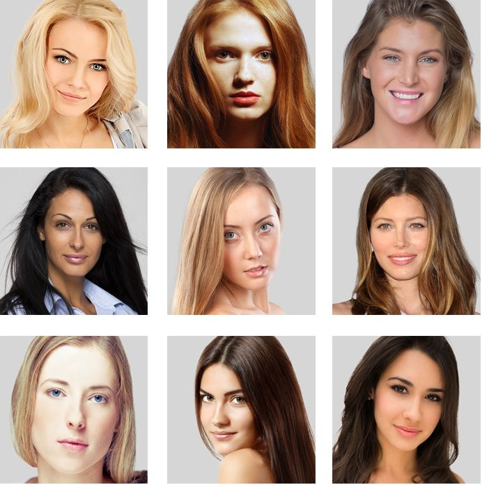 New girls to define your colortype: almost no make, no celebrities - just real faces to identify