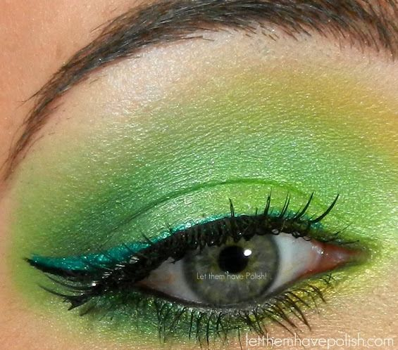 Absinthe/ Green Fairy look with @BFTE Cosmetics Envy, Sour, Apple, Lemon and Dragon Slayer. A touch of @Sugarpill Cosmetics Junebug @Milani Cosmetics Ultrafine Liquid Liner in Emerald Glisten and @Ardell Lashes in Flirty. @Urban Decay Glide on and Liquid liner in Perversion
