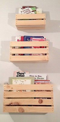 Set Of 3 Sizes Crate Style Book Shelves Shelf Kids Crates