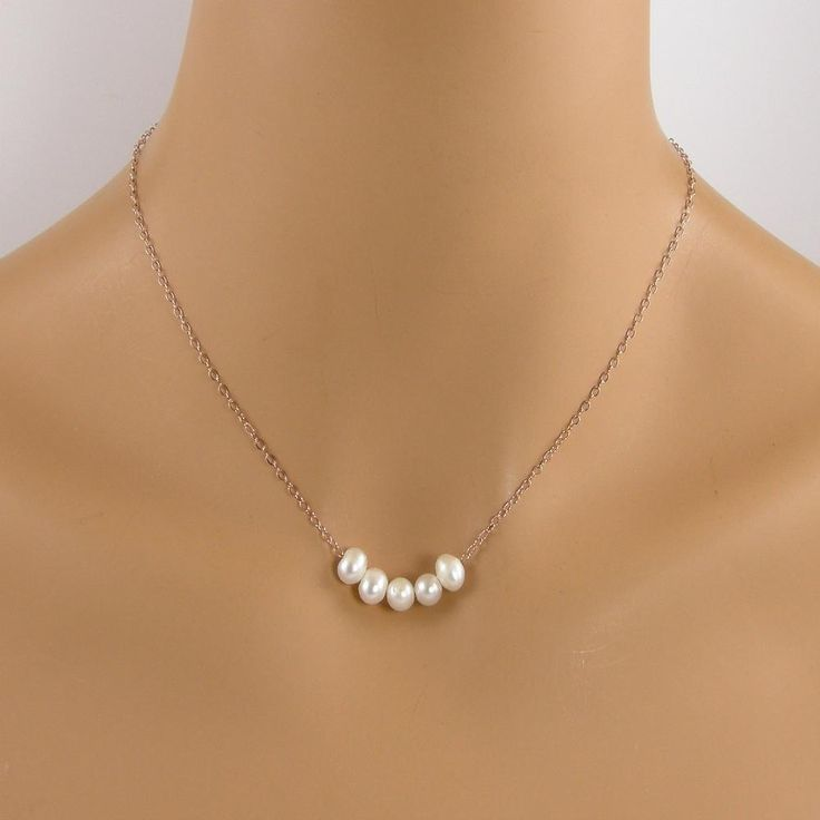 Five Pearl Rose Gold Necklace, , Floating Pearl Necklace
