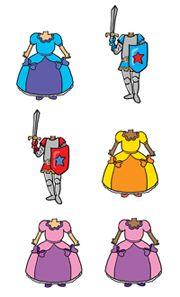 Pour les portemanteaux  des illustrations princesses et chevaliers (à télécharger et imprimer)
