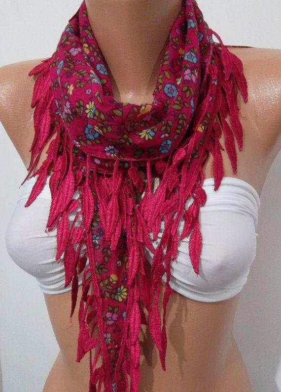 Elegant Scarf  Cotton Scarf  Dark Pink  Sale Scarf by womann, $12.90