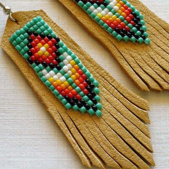 Items similar to Southwestern Jewelry Beaded Leather Earrings- Botanical on Etsy