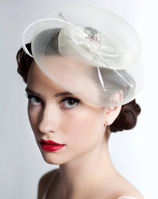White tulle bridal hat