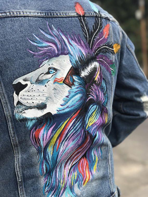 21cfec9420d Hand painted denim jacket. Lion