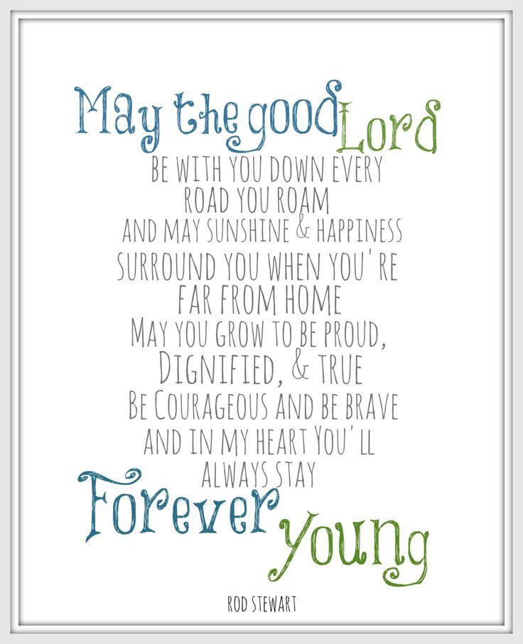 "Rod Stewart Lyric Art Print ""Forever Young""  8x10 Song Lyric art print Inspriational print Wall Decor Inspriational quote"
