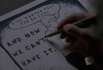 Ce que je voudrais c'est qu'un de mes dessins parle au moins à une personne. Que ça ait un sens.Je voudrais représenter la foi ou un nouvel espoir ou un moment de vraie joie. Ça ne m'intéresse pas d'être moyenne je veux faire quelque chose d'exceptionnel ou alors je préfère ne rien faire du tout. Peyton S - oth -