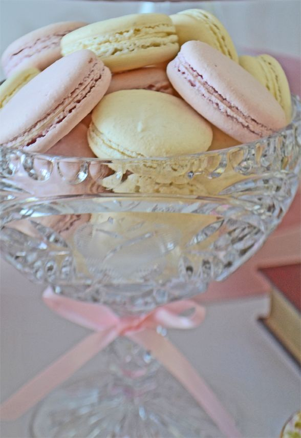 Pink and White Macarons in a vintage cut glass compote. Macarons from Bake Sale Toronto. Glass from Vintage Dish Rental.